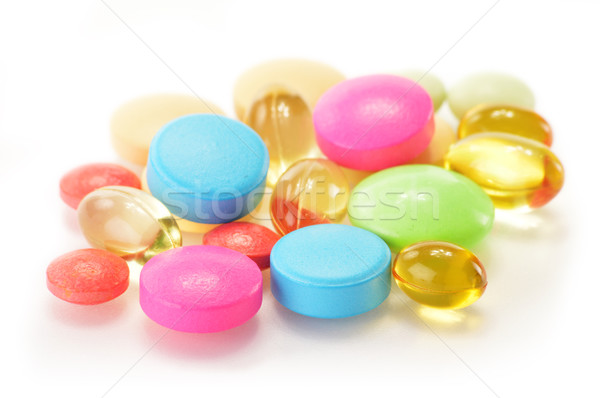 Composition with variety of drug pills and dietary supplements Stock photo © monticelllo