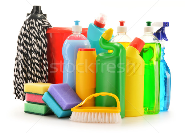 Detergent bottles isolated on white. Chemical cleaning supplies Stock photo © monticelllo