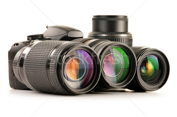 Composition with photo zoom lenses isolated on white Stock photo © monticelllo