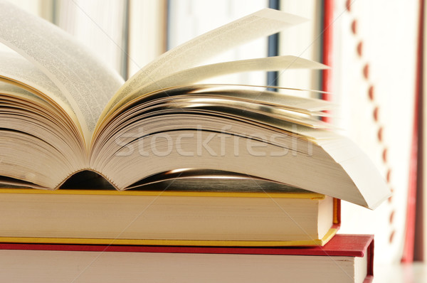 Composition with stack of books Stock photo © monticelllo