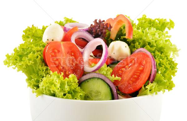 Sebze salata tabağı yalıtılmış beyaz gıda mutfak Stok fotoğraf © monticelllo