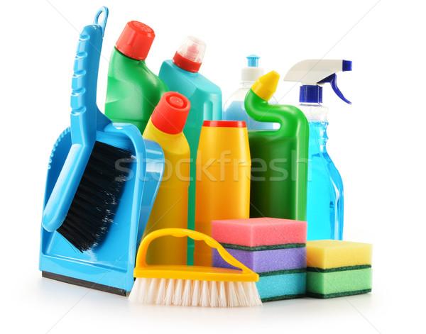 Mosószer üvegek izolált fehér vegyi takarítószerek Stock fotó © monticelllo