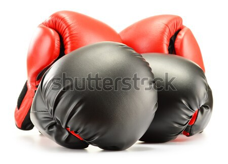 Leather boxing gloves isolated on white Stock photo © monticelllo