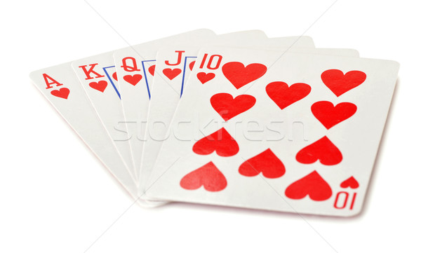 Composition with playing cards on white backgound Stock photo © monticelllo