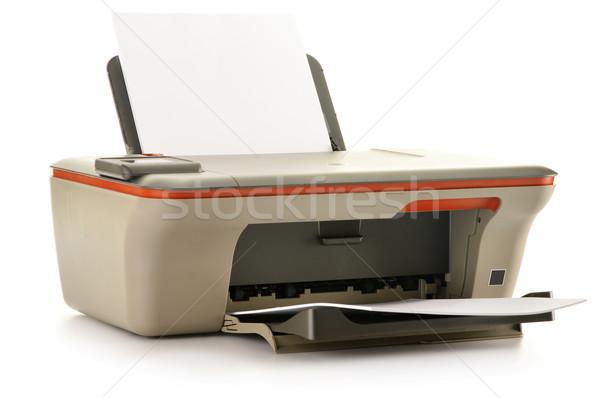 Bilgisayar yazıcı yalıtılmış beyaz ofis kâğıt Stok fotoğraf © monticelllo