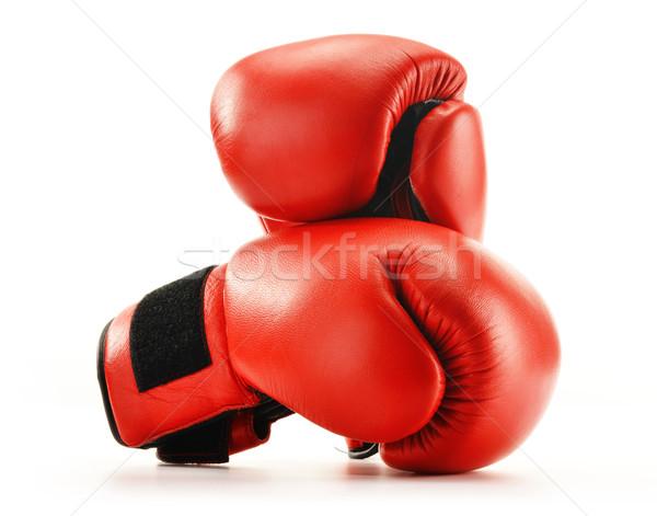 çift kırmızı deri boks eldivenleri yalıtılmış beyaz Stok fotoğraf © monticelllo