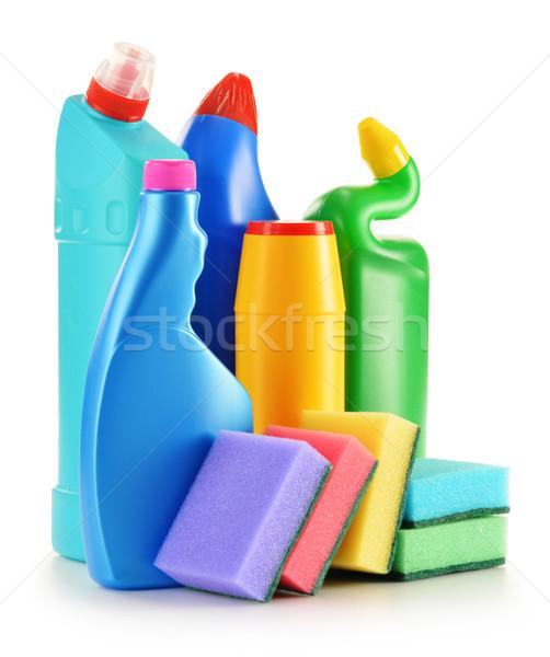 Detergente garrafas isolado branco químico Foto stock © monticelllo