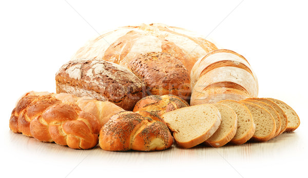 Composition with bread and rolls isolated on white Stock photo © monticelllo