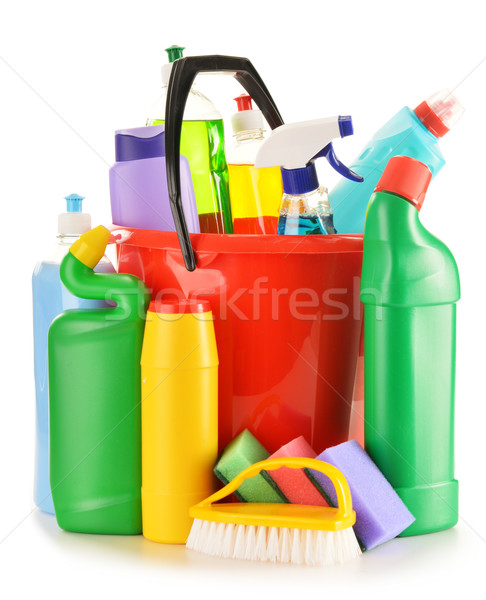 Stock photo: Detergent bottles isolated on white. Chemical cleaning supplies