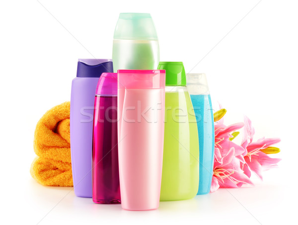 Stock photo: Plastic bottles of body care and beauty products