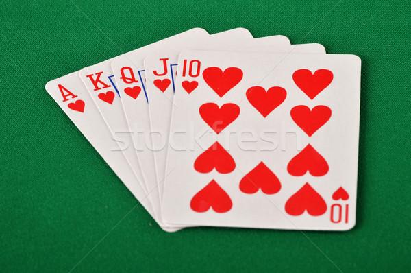 Speelkaarten groene tabel hart casino succes Stockfoto © monticelllo