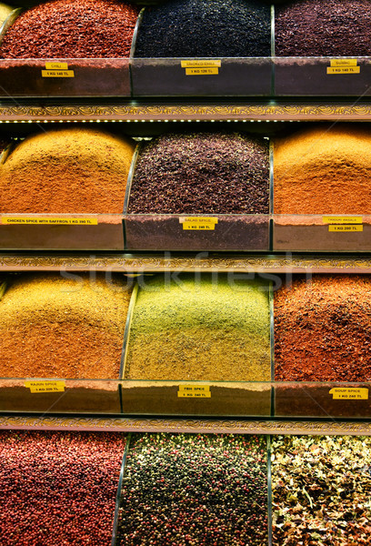 Variety of spices on the Grand Bazaar in Istanbul, Turkey Stock photo © monticelllo