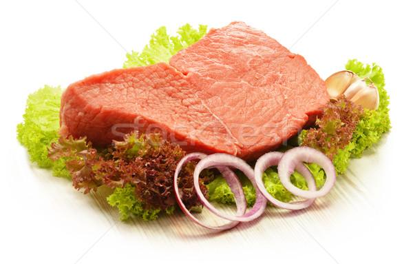 Parça sığır eti et marul gıda pişirme Stok fotoğraf © monticelllo