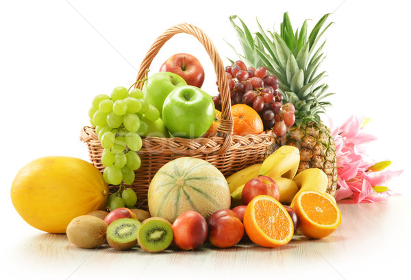 Composition with assorted fruits in wicker basket Stock photo © monticelllo