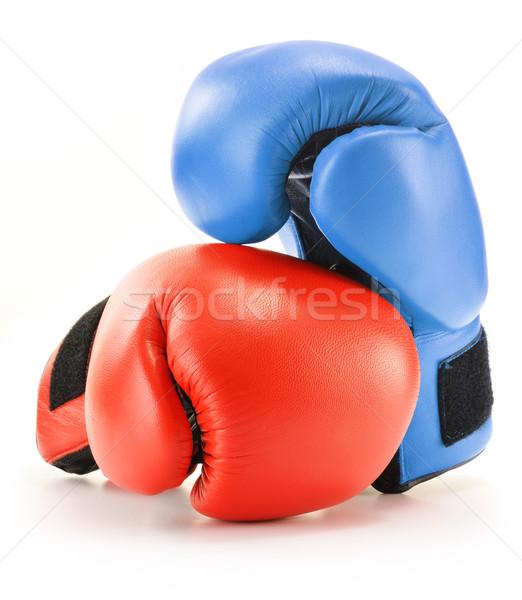 ペア 赤 青 革 ボクシンググローブ 孤立した ストックフォト © monticelllo