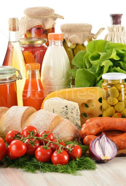 Stockfoto: Variëteit · kruidenier · producten · plantaardige · vruchten · vlees