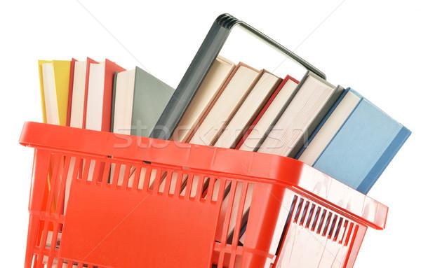 Plastik alışveriş sepeti kitaplar yalıtılmış beyaz Stok fotoğraf © monticelllo