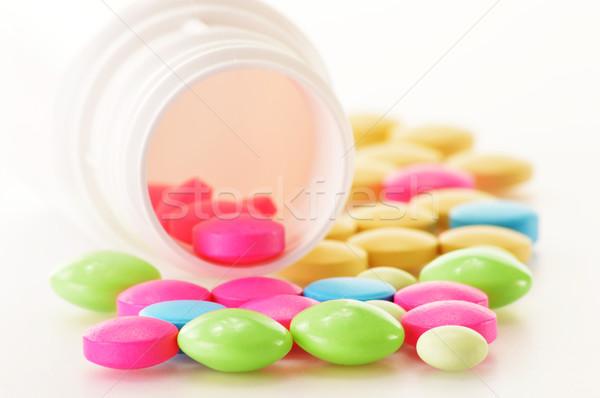 Variedad drogas pastillas dietético médicos Foto stock © monticelllo