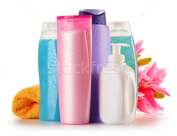 Plastik şişeler vücut bakım güzellik ürünleri çiçek Stok fotoğraf © monticelllo