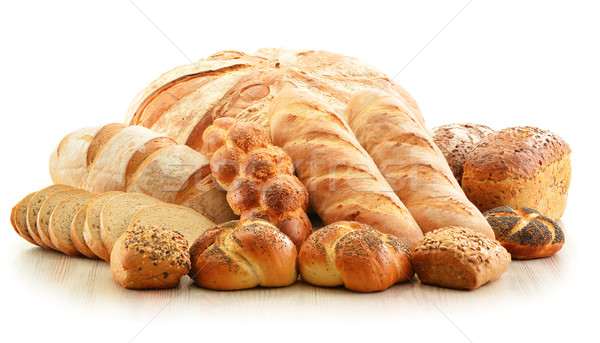 Stock photo: Composition with bread and rolls isolated on white