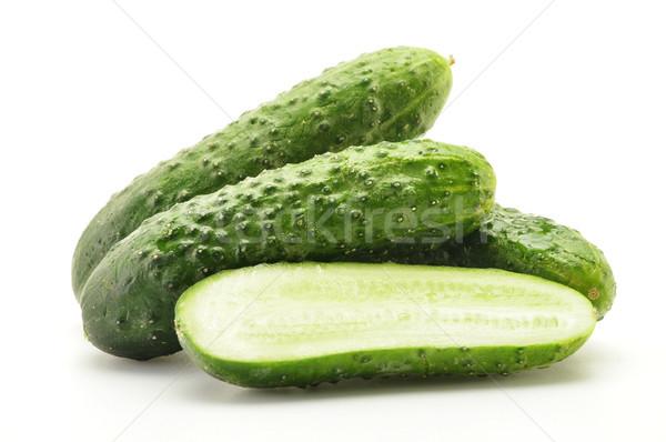 Friss nyers uborkák izolált fehér étel Stock fotó © monticelllo