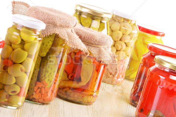 Hortalizas marinado alimentos blanco vegetales setas Foto stock © monticelllo