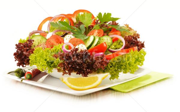 Sebze salata tabağı yalıtılmış beyaz mutfak tablo Stok fotoğraf © monticelllo