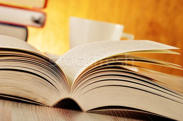 Könyv asztal oktatás ír tudomány olvas Stock fotó © monticelllo