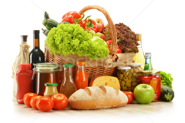 Stock photo: Composition with grocery products in shopping basket