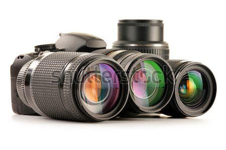 Photo equipment including zoom lenses, camera and flash lights  Stock photo © monticelllo