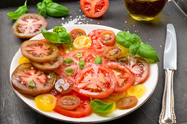 Kleurrijk tomaat salade basilicum groene Geel Stockfoto © Moradoheath