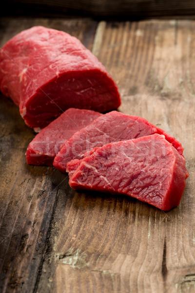 Bifsztek friss szeletel hús steak Stock fotó © Moradoheath