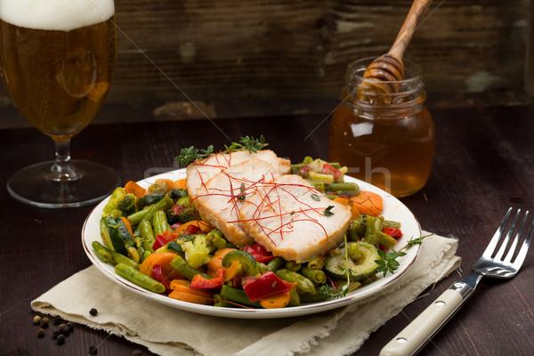 Zdjęcia stock: Marynowane · wieprzowina · warzyw · miodu · świeże · zioła