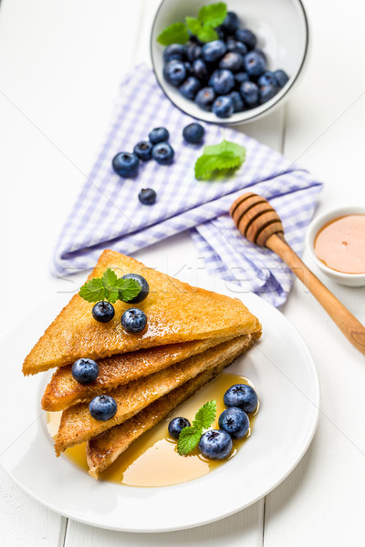 Stock fotó: Francia · pirítós · édes · reggeli · áfonya · szirup