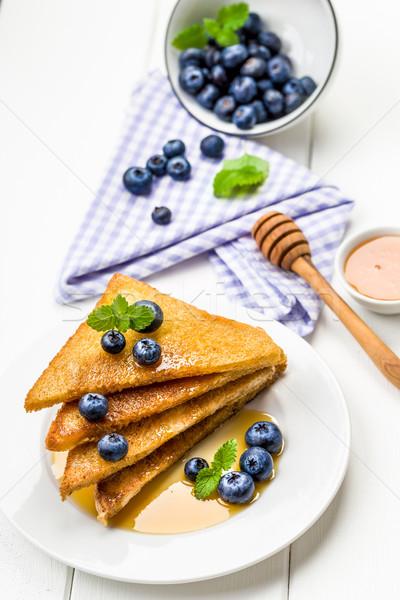 French toast sweet breakfast with blueberries Stock photo © Moradoheath