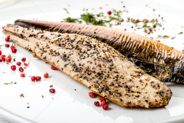 Fumé maquereau fraîches alimentaire poissons manger Photo stock © Moradoheath