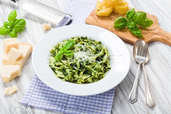 Fettuccine with spinach Stock photo © Moradoheath