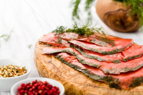 Lazac füstölt füstölz lazac marinált friss fűszer Stock fotó © Moradoheath