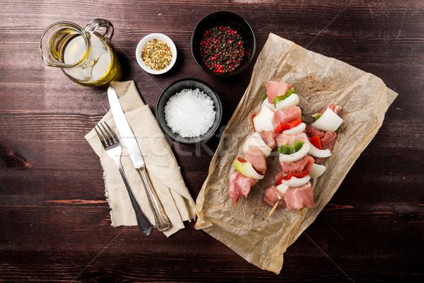 ケバブ スパイス 木製 夏 油 肉 ストックフォト © Moradoheath