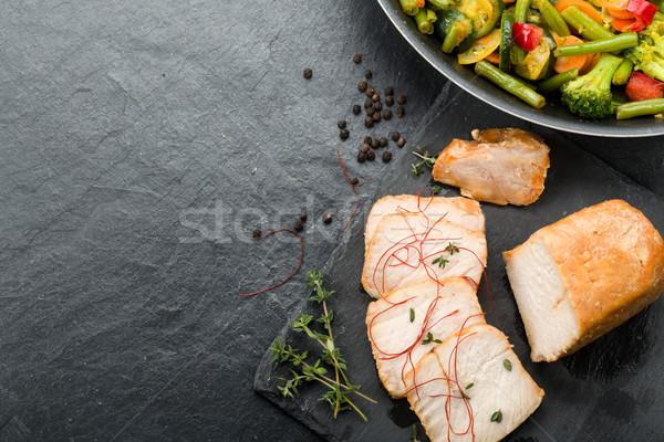 Marinated pork with vegetables and honey Stock photo © Moradoheath