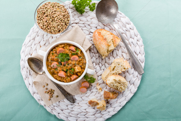 fresh lentil stew with sausages Stock photo © Moradoheath