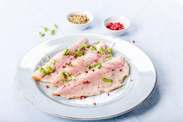 Geräuchert Forellen Filet Filet rosa Pfeffer Stock foto © Moradoheath
