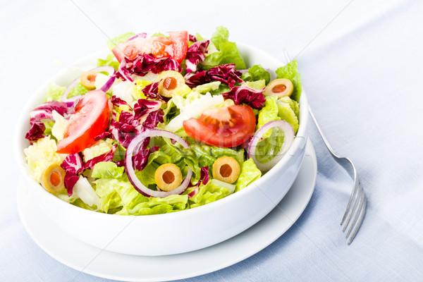 Vers salade tomaten olijven uien restaurant Stockfoto © Moradoheath