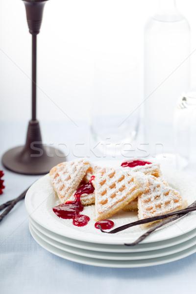 Frissen sült porcukor szív étel desszert Stock fotó © Moradoheath