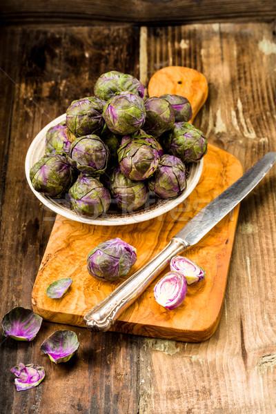 Ibolya friss lila Brüsszel étel zöld Stock fotó © Moradoheath