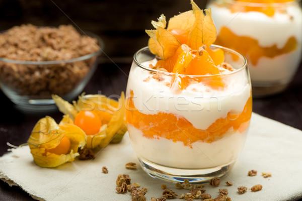 ヨーグルト マンダリン オレンジ グラノーラ フルーツ ガラス ストックフォト © Moradoheath