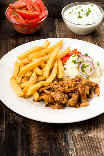 Kebab plate with french fries Stock photo © Moradoheath