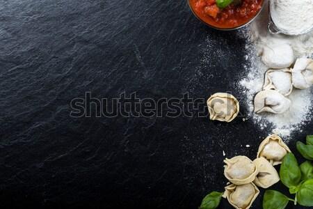 Frissen előkészített tortellini konyha zöld citromsárga Stock fotó © Moradoheath