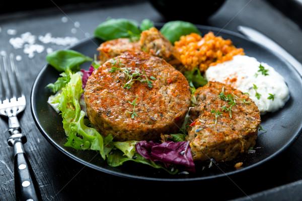 Patties on lettuce with bulgur Stock photo © Moradoheath