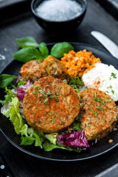 Stock photo: Patties on lettuce with bulgur